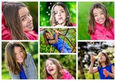 Collage of young children playing outdoors — Stock Photo