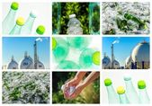 Collage about recycling of glass and plastic — Stock Photo