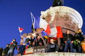 PARIS - France on 08 January 2015 : Peaceful protest in Place de la Republique — Stock Photo