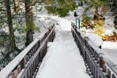 Small bridge with snow in vosges landsape — 图库照片
