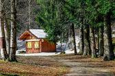 Wooden chalet in winter — Zdjęcie stockowe