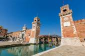 Tower at the entrace of the Arsenale of Venice, Italy — Foto Stock
