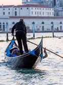 Gondola on Canal Grande with Basilica di Santa Maria della Salut — Stock Photo