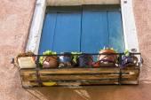 Closeup on windows windows of a typical Venetian house, Italy — ストック写真