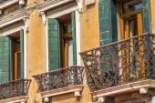 Closeup on windows windows of a typical Venetian house, Italy — Stock Photo