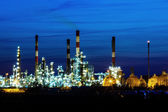 Night View on Oil refinery unit in the countryside — Stock Photo