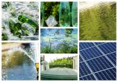 Collage about recycling on clean energy — Stock Photo