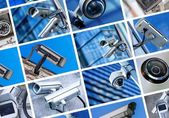 Collage of security camera and urban video — Stock Photo