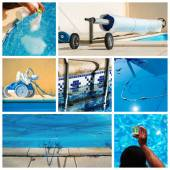 Collage maintenance of a private pool — Stock Photo