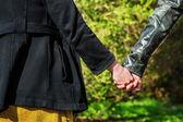 Joven pareja tomados de la mano en el parque — Foto de Stock
