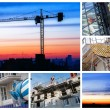 Constructions site collage of a new residential building — Stock Photo #72039995