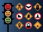 Set of vectors halloween symbol as road sign — Stock Vector