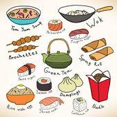 アジア食品ベクトル コレクション — ストックベクタ