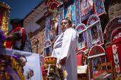 Unknown peruvian people on a carnival in Cuzco, Peru — Stock Photo