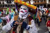 Participants of parade in carnival costumes, Cuzco, Peru — Stock Photo
