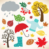 Vector collection of different autumn symbols — Stock Vector