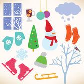 Vector collection symbols of winter — 图库矢量图片