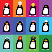 Cute penguins in the form of various professions — Stockvektor