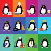 Cute penguins in the form of various professions — 图库矢量图片