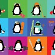 Vector collection of cute penguins with accessories of different sports — Stock Vector #59375135