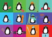 Vector collection of cute penguins with accessories of different sports — Stock Vector