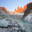 Towers at sunrise, national park Torres del Paine, Patago — Stock Photo #73395931