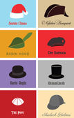 Hats of famous people and characters — Stock Vector
