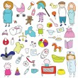 Set children's clothes, toys and characters — Stock Vector #76048047