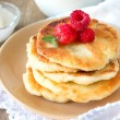 Pancakes with raspberry, mint and sour cream — Stock Photo #71508055