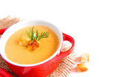 Cream soup with croutons — Stock Photo