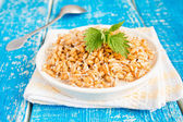 Sprouted wheat seeds with mint — Stock Photo