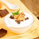 Yogurt with Chocolate, Mint and Nuts — Stock Photo #72674285