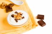 Yogurt with Chocolate and Nuts — Stock Photo