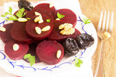 Beetroot with nuts — Stock Photo