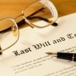 Last will and testament with pen and glasses concept for legal d — Stok fotoğraf #54723443