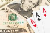 Three aces on dollar banknote — Stockfoto