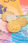 Australian dollar banknotes and coins — Stock Photo