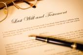 Last will and testament with pen and glasses concept for legal d — Stock Photo