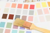 Paint color sample catalog with brush and drawing  — Stock Photo