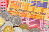 Switzerland money swiss franc banknote and coins close-up — Stock Photo