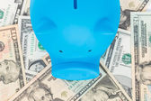 Blue piggy bank on dollar banknote background — Stock Photo