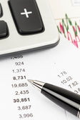 Financial report or stock market graph analysis — Stock Photo