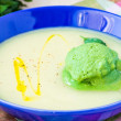 Vegetable cream soup with green ice cream from herbs, spinach — Stock Photo #67790673