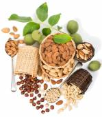 Various nuts in a baskets — Stock Photo