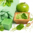 Spa setting with products of green apple — Stock Photo #53412941