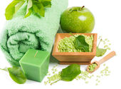 Spa setting with products of green apple — Stock Photo