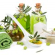 Spa composition with green olive products — Stock Photo #53463059