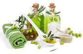 Spa composition with green olive  products — Stock Photo