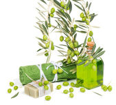 Green olives for spa — Stock Photo