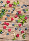 View from above of fresh berries on wooden table — Foto Stock